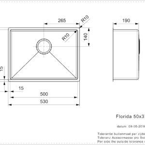 Florida 50×37 (L) Reginox RVS Küchenspüle